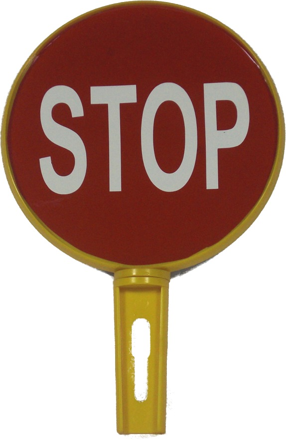 Traffic Reflective Disc 200mm Stop Go Hand Sign