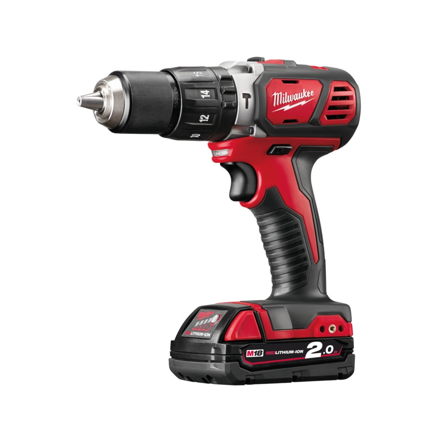 milwaukee 18v 2 0ah li ion compact hammer drill driver. Black Bedroom Furniture Sets. Home Design Ideas