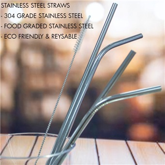 HOUZE STAINLESS STEEL STRAW 4PPP STEEL - KN6111